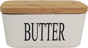 Hoocozi Large Butter Dish with Bamboo Lid, White Porcelain Butter Keeper Butter Container Food Storage Candy Box, Holds Up to 2 Sticks of butter, Family or Friends Gift(650ml)