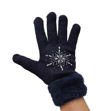 N. N. Damen Strick Stern Handschuhe innen Teddy Fell Finger