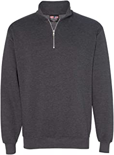 product image for Bayside USA-Made Quarter-Zip Pullover Sweatshirt, Charcoal Heather, S