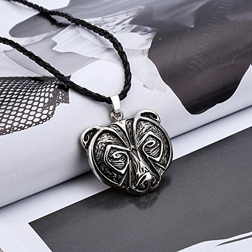 Haluoo Bear Head Pendant Necklace,Bear Necklace Legend Amulet Viking Norse Viking Amulet Necklace Pendant Talisman Chains Handmade Celtic Pagan Jewelry Jewelry Gift for Men Boys (Bear Head Pendant)