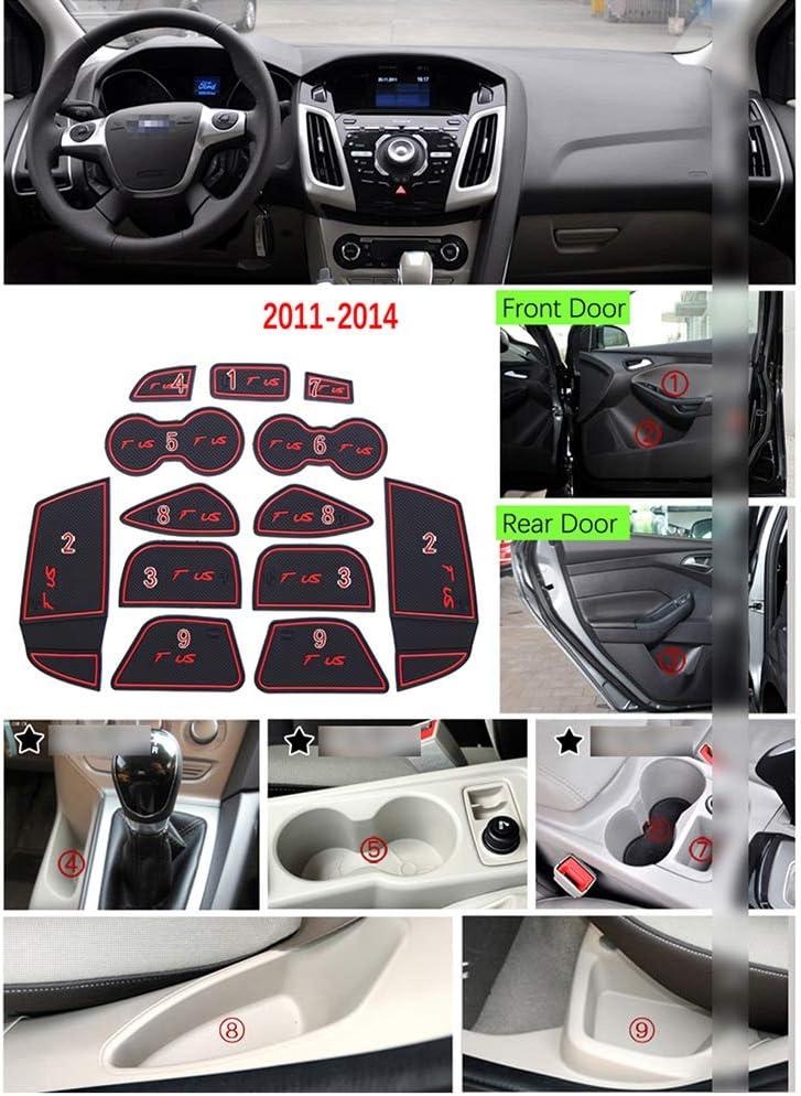 f/ür Ford Focus 3 MK3 ST RS Pre-Facelift 2011~2014 2013 Zubeh/ör Auto Aufkleber QSONGL Anti-Rutsch-Gummi Cup Cushion T/ürnut Matte