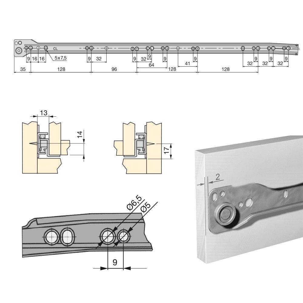 250mm EMUCA 3019612 Lot de 5 Paires coulisses//Glissi/ères /à Galets Extrait Partie pour Tiroir couleur Blanc