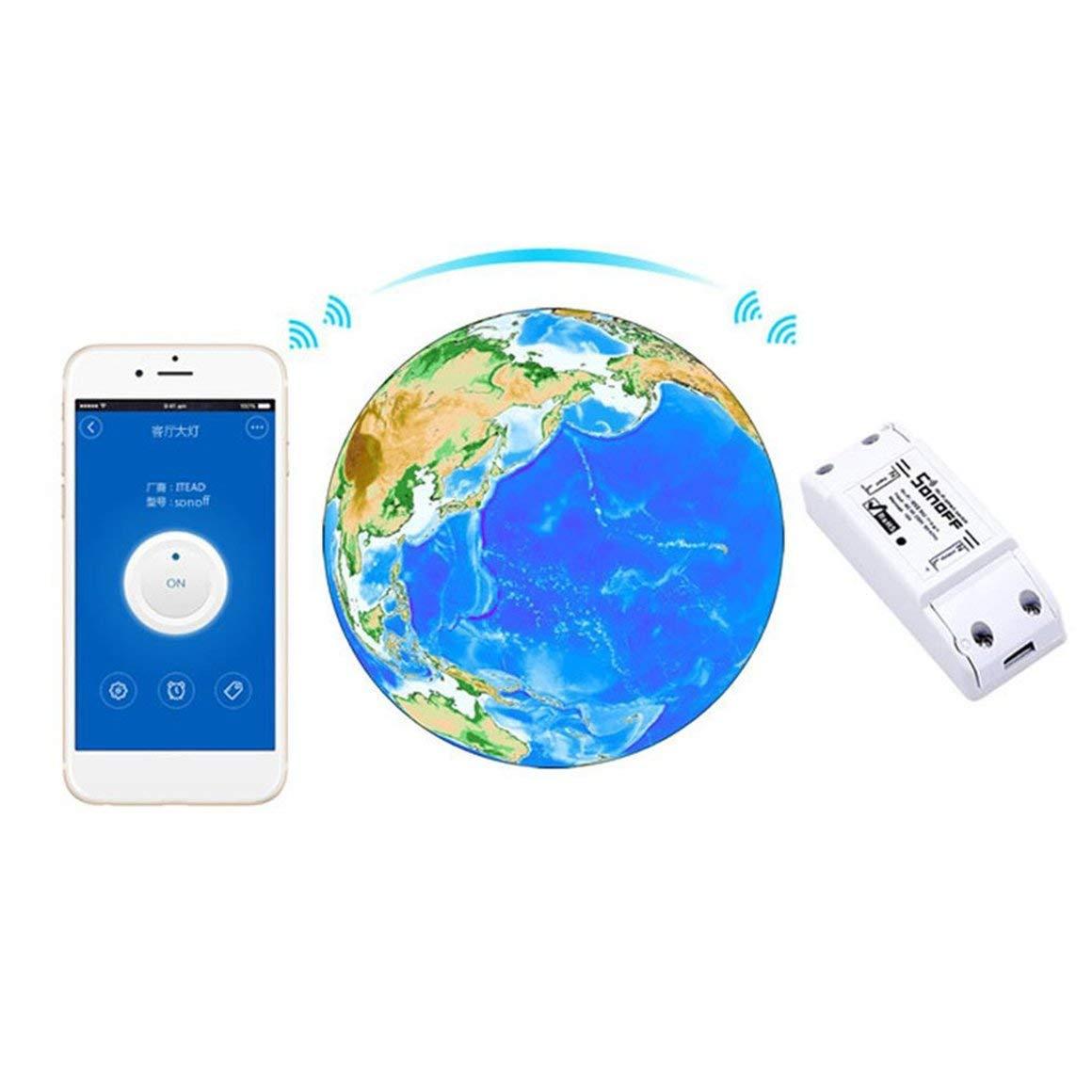 Funnyrunstore Sonoff WiFi Smart Switch Smart Modulo di automazione domestica intelligente universale con telecomando Shell Shell Presa per casa fai da te bianco