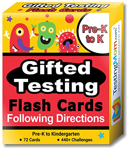 Gifted Testing Flash Cards – Following Directions for Pre-K – Kindergarten – Educational Toy Practice for CogAT test, OLSAT test, ITBS, NYC Gifted and Talented, WISC, WPPSI -