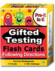 Gifted Testing Flash Cards – Following Directions for Pre-K – Kindergarten – Educational Practice for CogAT Test, OLSAT Test, ITBS, NYC Gifted and Talented, WISC, WPPSI
