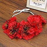 Beauty Bride Rose Flower Crown Hairband Wedding Floral Headband Garland Festival Wreath Hand Strap Hair Accessories Red