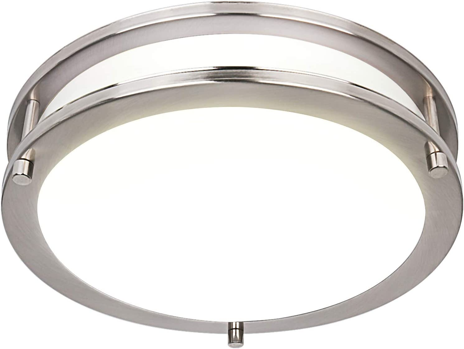 Hykolity 10 Inch Dimmable LED Ceiling Light, 17W [120W Equivalent] 1100lm 4000K Brushed Nickel Finish Saturn Flush mount Ceiling Lamps, ETL for Hallway, Bathroom, Kitchen, Bedroom, Restroom