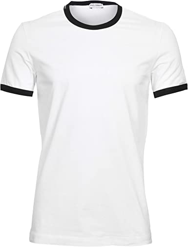 Dolce & Gabbana Deporte Contraste Logotipo Camiseta De Hombre, Blanco/Negro: Amazon.es: Ropa y accesorios
