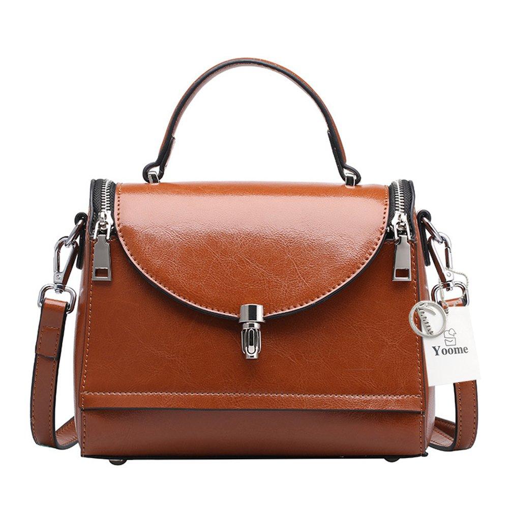 Yoome Sacs à main en cuir pour les femmes Sacs de docteur Petits sacs à main Top poignée sacs sac à bandoulière sac à bandoulière pour les dames avec rabat fermeture de verrouillage à tournant