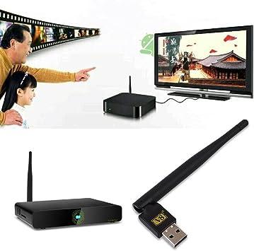 Auntwhale Adaptador de WLAN WiFi USB para decodificador Receptor de receptores de TV satélite Digital, Mini Antena WiFi Estabilizador de señal Dongle