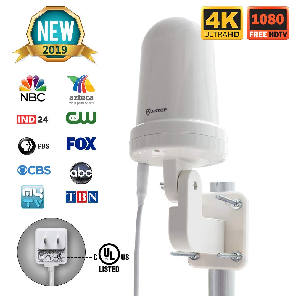 ANTOP Outdoor/Attic TV Antenna Omni-directional Complete 360° Reception,Exclusive Smartpass Amplifier Delivers the Correct Range, Durable Exterior & Weather Resistant Fit Outdoor/RV/Attic