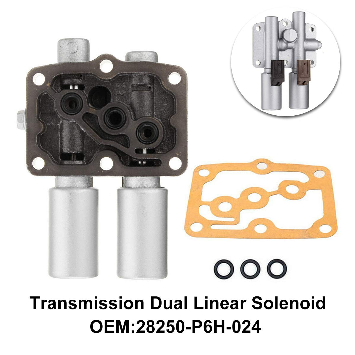Transmission Dual Linear Solenoid 28250-P6H-024 Replacement for Honda Accord Odyssey Acura CL TL MDX Pilot Prelude 28250P6H024 with 1PCS Gasket and 3PCS O-Rings
