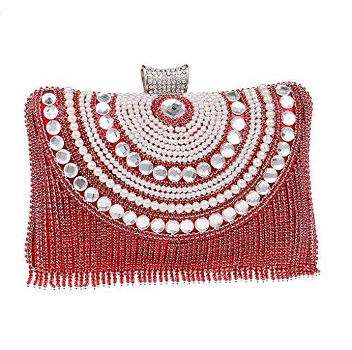 para al mujer hombro BESTWALED plata Red Plateado 5 UYHB438 Bolso xRTqnnwtI4