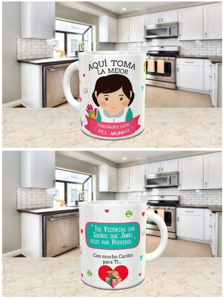 Taza Desayuno Aquí Toma la Mejor TRABAJADORA Social del Mundo,Regalo Original,Ceramica 330 ML,Fabricado por KIVIKE.