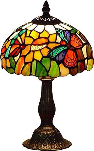 Nobeiyi Vitral Tiffany Estilo Mariposa Acento Lámpara de Mesa ...