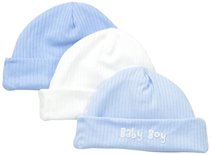 Amazon.com  Gerber Baby-Boys Newborn 3 Pack Textured Knit Caps Baby ... 50a2baec202