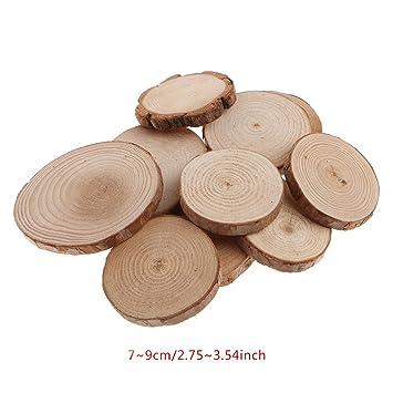 10Pcs Rustic Natural Round Wood Pine Tree Slices Craft Wedding Centerpiece Decor