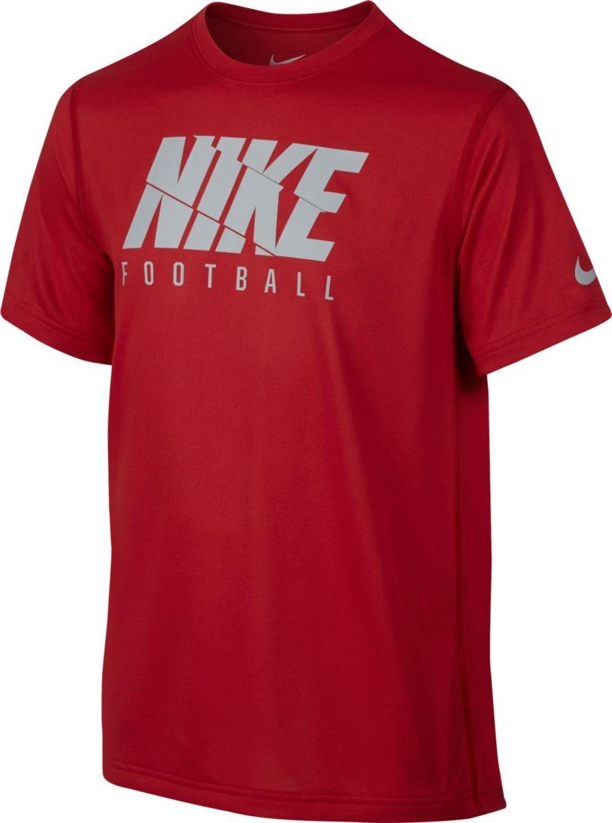 Nike B NK Dry Tee SS Football, Maglietta a Maniche Corte con Logo da Bambino, Bambino, B Nk Dry Tee SS Football Logo, Rosso (University Red), S 838179-657