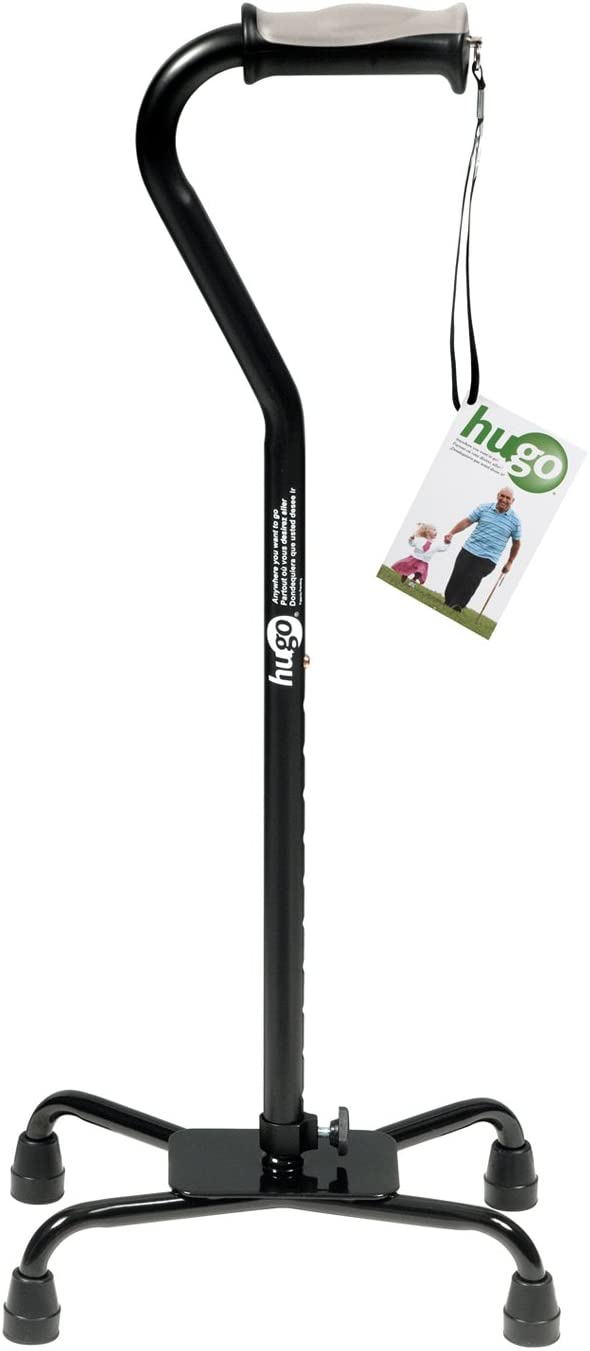 Hugo Mobility Adjustable Quad Cane for Right or Left Hand Use, Ebony, Large Base: Health & Personal Care