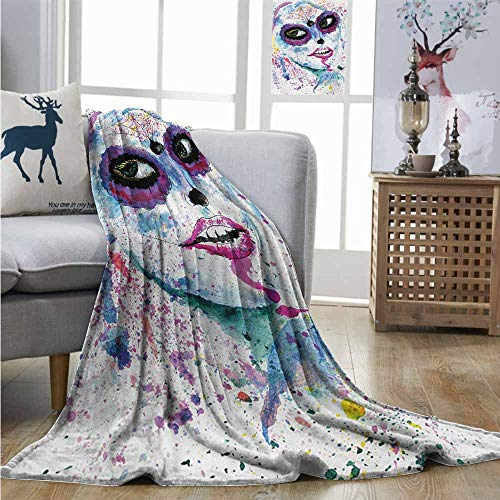 Homrkey Warm Blanket Girls Grunge Halloween Lady with Sugar Skull Make Up Creepy Dead Face Gothic Woman Artsy Queen Size Blanket W70 xL93 Blue Purple]()