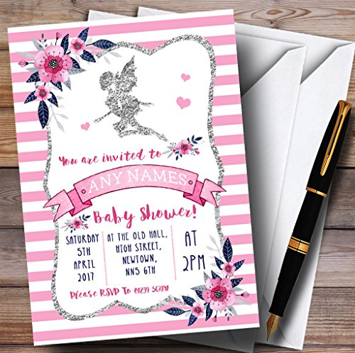 Silver & Pink Fairy Invitations Baby Shower Invitations
