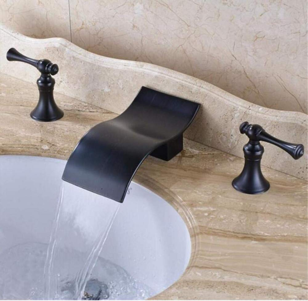 Kitchen Brass Hot and Cold Water Faucet Washbasin Rubbed Bronze Bathroom Sink Faucet Double Handles Widespread 3Pcs Basin Mixer Tap
