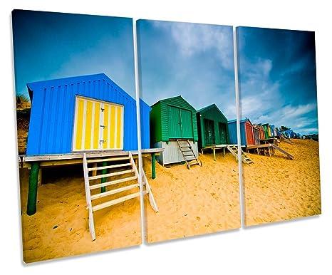 Diseño de casetas de playa escena agudos caja de lienzo cuadro Impresión, 150cm wide x