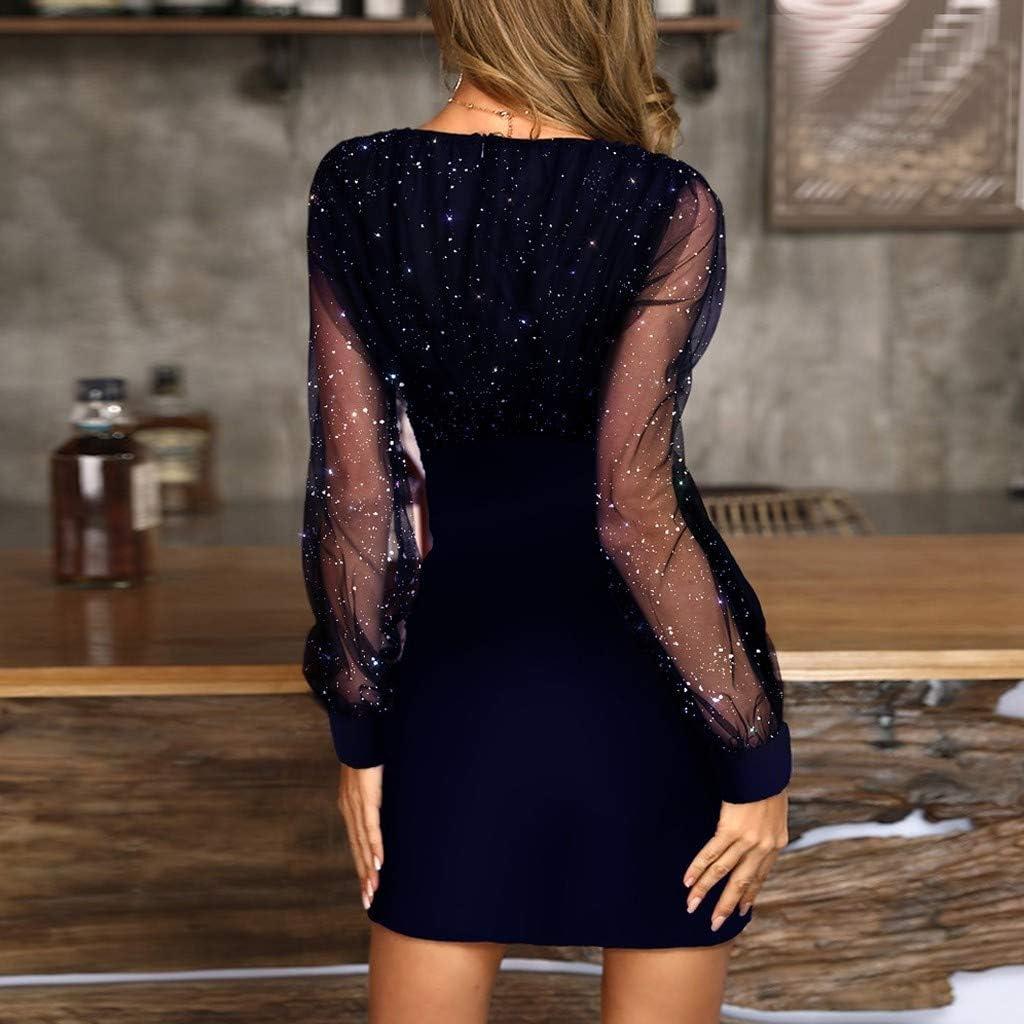 Womens Sequins Dress Ladies Elegant Mesh Long Sleeve V-Neck Party Club Dresses