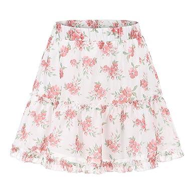 Qijinlook 💖pequeña Falda Plisada Floral Blanca/Falda Corta ...
