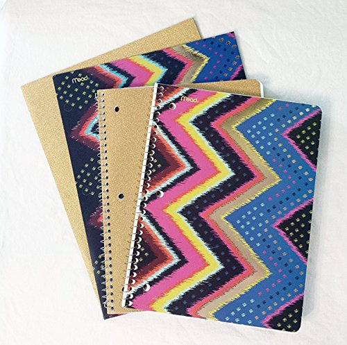 Mead Glam Metals Back to School Set: 2 College Notebooks & 2 Folders (Gilded Textile)