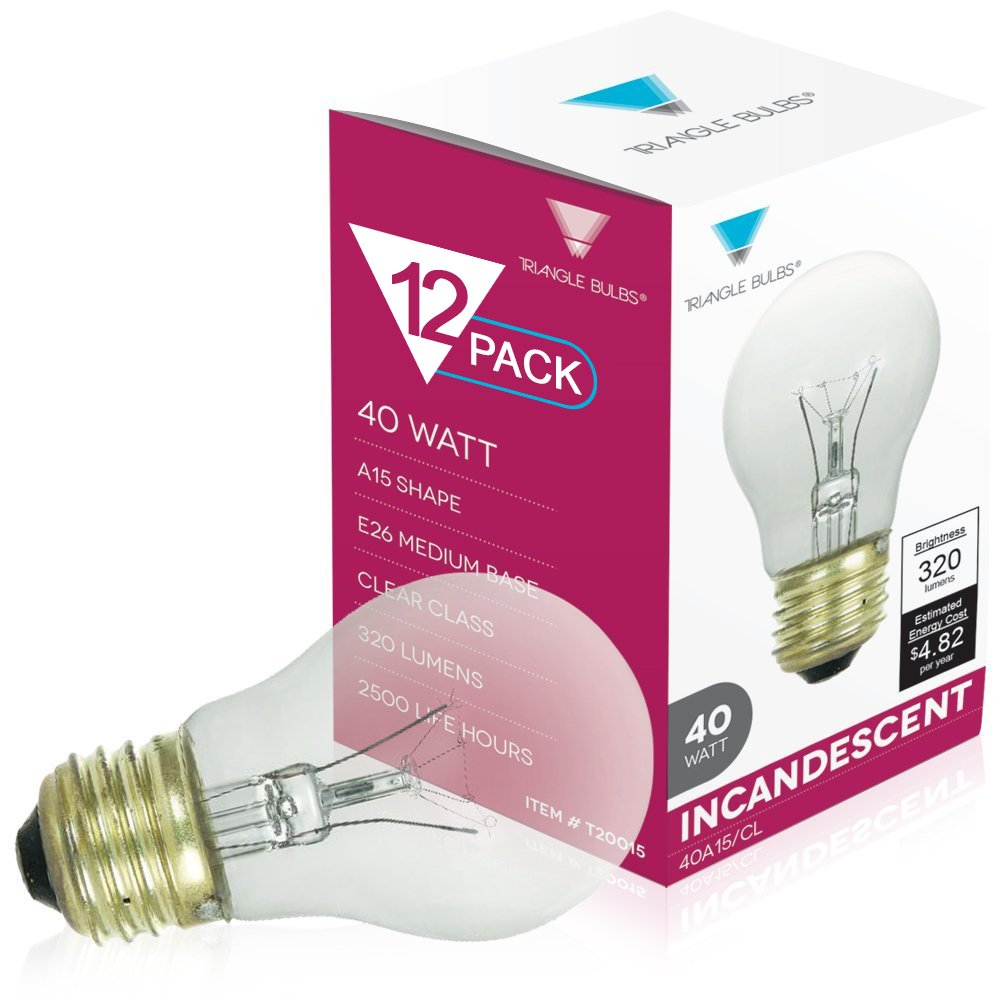 40-Watt A15 Appliance Fan Bulb CLEAR 120V Premium Quality Triangle Bulbs T20015-12-VA Pack of 12