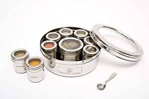 The Three Sisters India Hand Crafted Stainless Steel Masala Dabba Spice Tins | Kitchen | Seasoning Canisters With Indian Spices | Organizer | Containers | Box / Holder