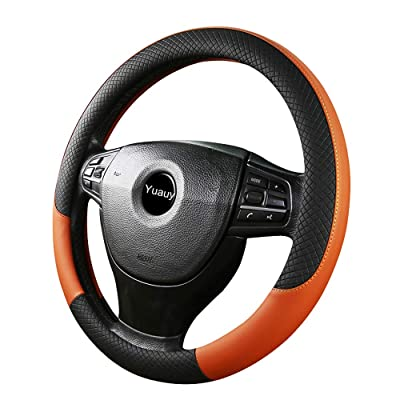 Yuauy Breathable Microfiber Leather Steering Wheel Covers Anti-Slip Steering Wheel Cover for Universal Car: Automotive
