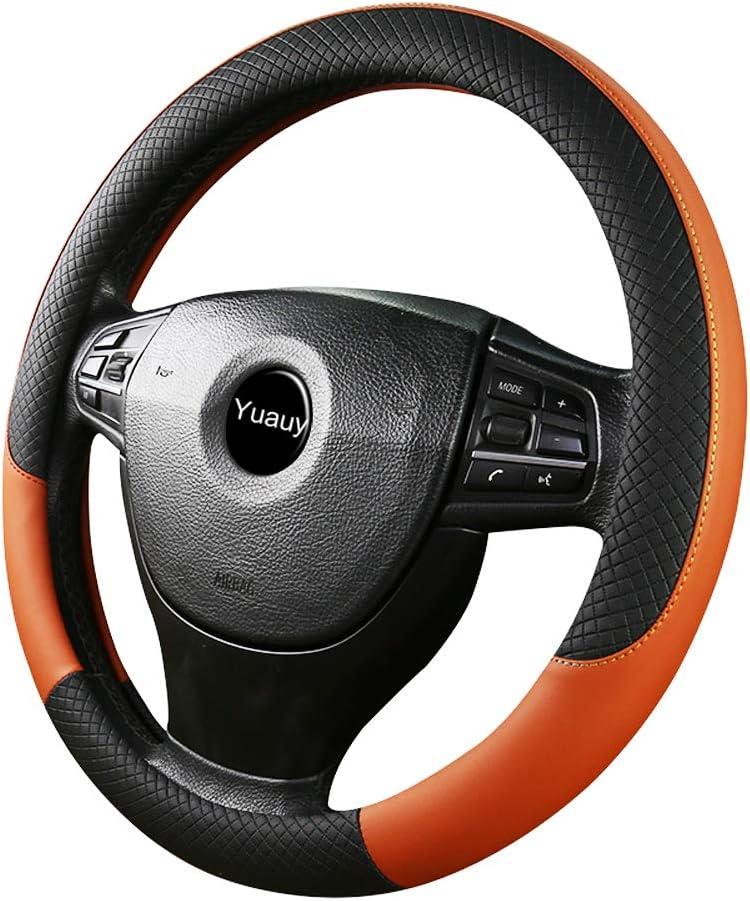 Orange Yuauy Breathable Microfiber Leather Steering Wheel Covers Anti-Slip Steering Wheel Cover for Universal Car