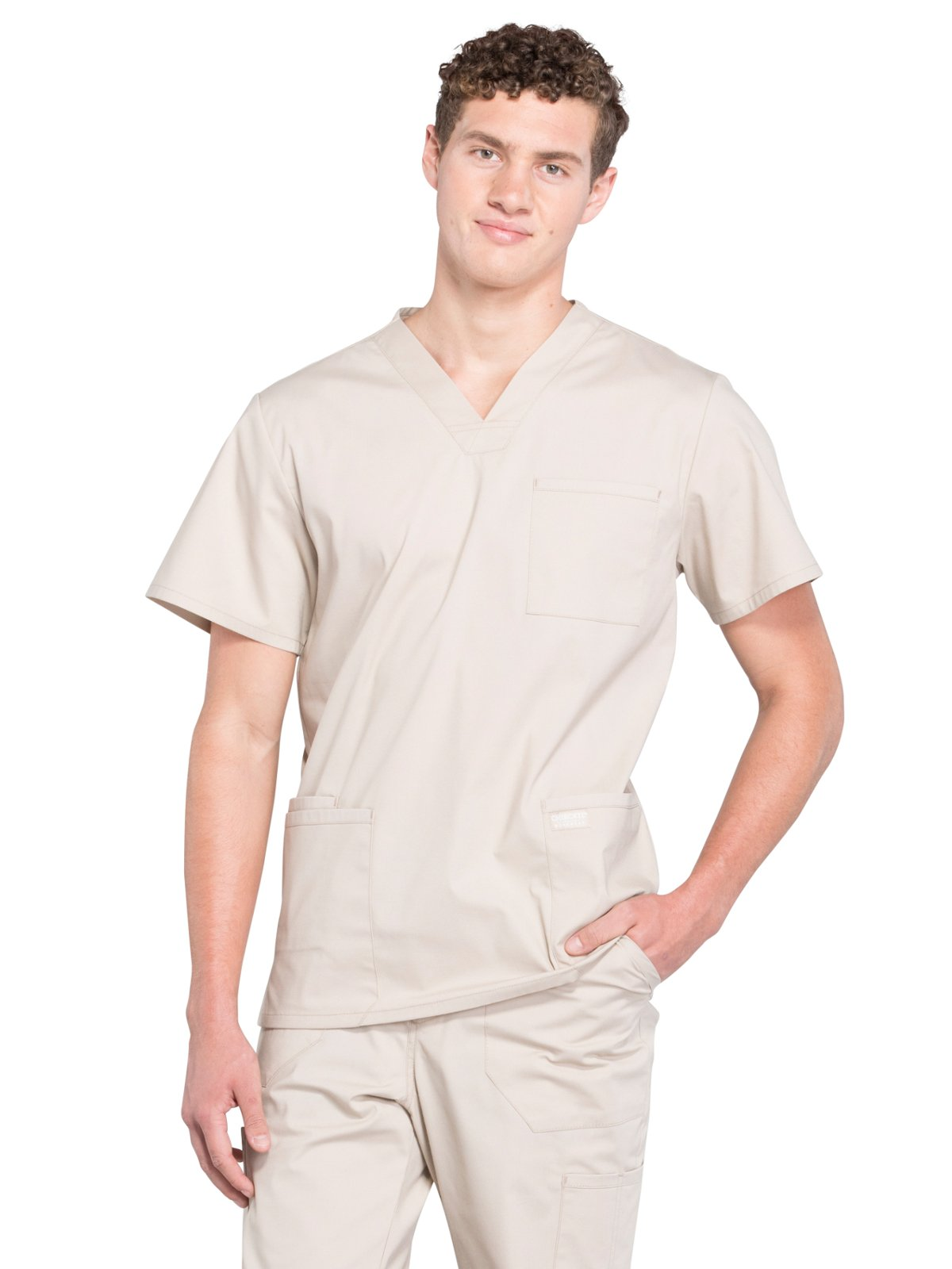 Cherokee Professionals Workwear Men's V-Neck Utility Solid Scrub Top Large Khaki