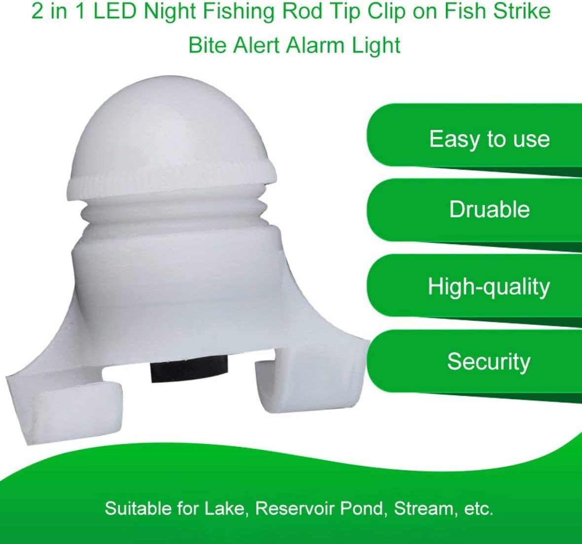 Wei/ß Portable 2 in 1 LED Nacht Angelrute TIPP Clip auf Fisch Streik Bissanzeiger Licht Angeln LED Rod Clip Angelzubeh/ör