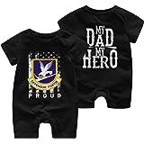 HOUFOUCC Defensor Fortis Air Force Security Force My Dad is My Hero Baby Onesie Organic Short-Sleeve Bodysuit