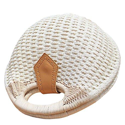 luoyu Bag Bag Camping Su Shaped Shell Rattan Braided Grass Beach Handbag Handwoven qZCUdOw