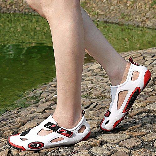 Herren Closed Toe Strand Wasser Schuhe Seitliche Klettverschluss EVA Garten Loch Jelly Clogs Sandalen Weiß schwarz