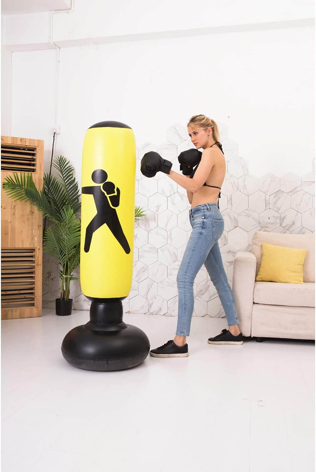 BOOMGROO Inflatable Punching Body Bag with Stand, Boxing Bag Toy Boxing Stand Heavy Bag Stand Strength Enhancer Boxing Toy for Kids Youth Teenager Junior & Adults Boom Boom Boxing (Yellow) : Sports & Outdoors