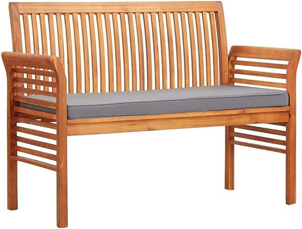vidaXL Madera Maciza Acacia Banco Jardín 2 Plazas con Cojín Mobiliario Cómodo Robusto Resistente Funcional Práctico Diseño Moderno Elegante 120cm: Amazon.es: Hogar