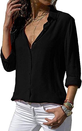 Blusa de gasa para mujer, cuello en V, moderna, camiseta elegante, camiseta de manga larga, blusa, informal, moda con botones