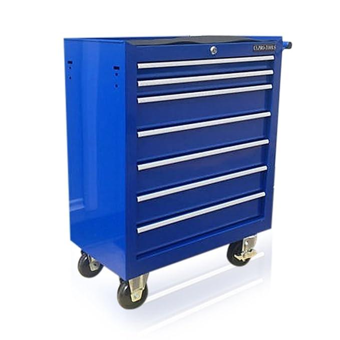PRO-TOOLS - Carro de herramientas, con ruedas, de color azul, de acero, 7 cajones y ruedas: Amazon.es: Bricolaje y herramientas