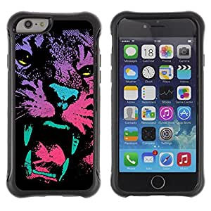 Hybrid Anti-Shock Defend Case for Apple iPhone 6 4.7 Inch / Neon Art Cat Tiger Painting wangjiang maoyi