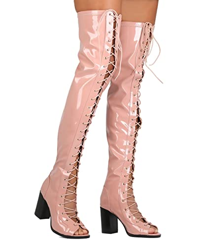 beeb79486ab Cape Robbin Women Patent Leatherette Thigh High Peep Toe Lace Up Chunky  Heel Boot FG68 - Pink