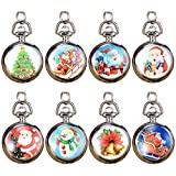 Top Plaza Christmas Gifts Snowman Santa Claus Silver Retro Quartz Analog Fob Pocket Watches Pendant Neckalce With Chain for Kids