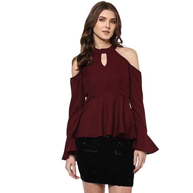 28f4edd9d4df7 Woowzerz Burgundy Cold Shoulder Peplum Top  Amazon.in  Clothing ...