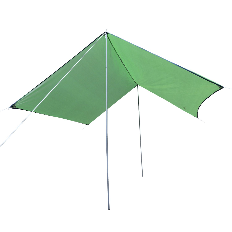 Outsunny B/âche Anti-Pluie Voile dombrage Toile de Camping 3L x 3l m Polyester Haute densit/é 190T imperm/éable Vert