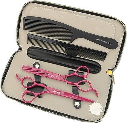 Jiesenyu - Tijeras de peluquería para zurdos y tijeras para el pelo, 6 pulgadas de estuche de presentación o peine negro: Amazon.es: Belleza