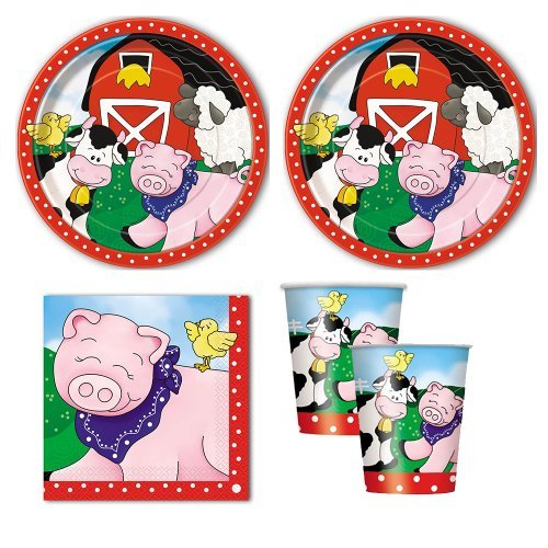 Farm Friends Party Pack for 16 guests, lunch plates, napkins, cups by -